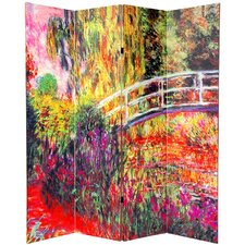 "70.88"" x 63"" Double Sided Works of Monet 4 Panel Room Divider"