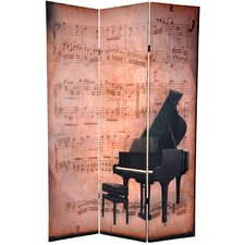 "<strong>Oriental Furniture</strong> 70.88"" x 47"" Double Sided Piano / Phonograph Music 3 Panel Room Divider"
