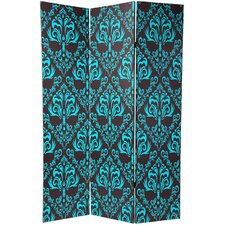 Double Sided Damask Room Divider in Blue and Black