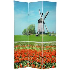 """70.88"""" x 47.25"""" Double Sided Windmills 3 Panel Room Divider"""