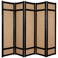 "<strong>Oriental Furniture</strong> 71"" x 70"" Jute Shoji 5 Panel Room Divider"