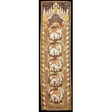 <strong>Oriental Furniture</strong> Burmese Five Elephant Long Tapestry