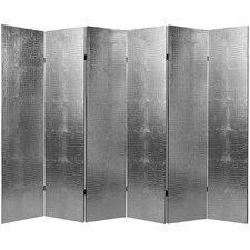 Faux Leather Crocodile 6 Panel Room Divider in Silver