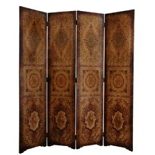 "72"" x 63"" Olde-Worlde Parlor 4 Panel Room Divider"