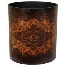 Olde-Worlde European Waste Basket in Dark Faux Leather