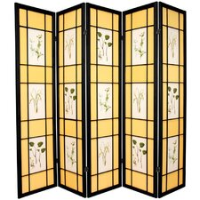 "72"" x 70"" Herbal Floral Shoji 5 Panel Room Divider"