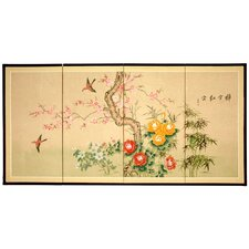 "36"" x 72"" Birds and Flowers in Flight 4 Panel Room Divider"