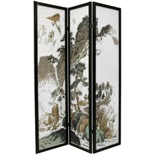 "72"" x 42"" Asian Landscape 3 Panel Room Divider"