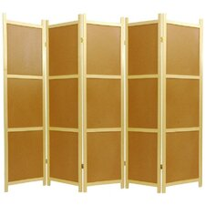 "72"" x 70"" Cork Board 5 Panel Room Divider"