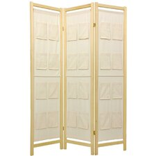 "72"" x 42"" Pockets Shoji 3 Panel Room Divider"