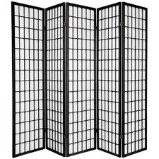 "70"" x 70"" Window Pane Shoji 5 Panel Room Divider"