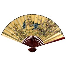 <strong>Oriental Furniture</strong> Gold Leaf Birds and Flowers Fan Wall Décor
