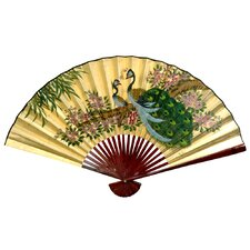 "<strong>Oriental Furniture</strong> 30"" x 48"" Peacocks Wall Fan"