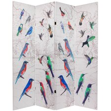 "<strong>Oriental Furniture</strong> 71.25"" x 63"" Birds and Flowers Double Sided 4 Panel Room Divider"