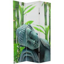 "71.25"" x 47.25"" Double Sided Serenity Buddha 3 Panel Room Divider"