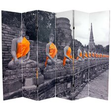 "<strong>Oriental Furniture</strong> 71.25"" x 94.5"" Double Sided Golden Buddhas 6 Panel Room Divider"