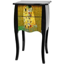 "<strong>Oriental Furniture</strong> Lacquer Klimt ""The Kiss"" 2 Drawer Cabinet"