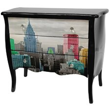 Lacquer Colorful New York City 3 Drawer Cabinet