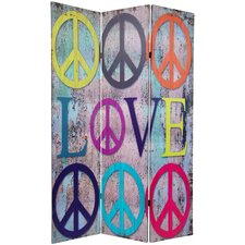 "71.25"" x 47.25"" Double Sided Peace and Love 3 Panel Room Divider"