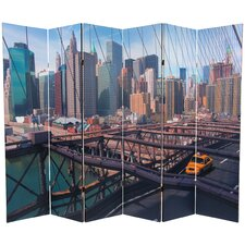 "71.25"" x 94.5"" Double Sided New York Taxi 6 Panel Room Divider"