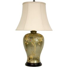 <strong>Oriental Furniture</strong> Birds and Flowers Vase Table Lamp