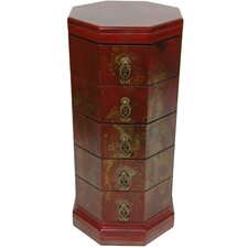 Lacquer Hexagonal 5 Drawer Chest