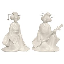 2 Piece Seated Musical Geisha Figurine Set