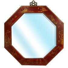 Octagonal Wall Mirror in Antique Red Lacquer