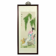 Oriental Day Dreamer Watercolor Framed Original Painting