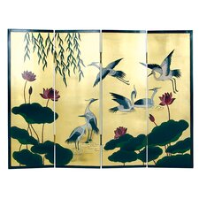 "36"" x 48"" Crane and Lotus 4 Panel Room Divider"