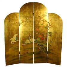 "<strong>Oriental Furniture</strong> 72"" x 64"" Cranes Decorative 4 Panel Room Divider"