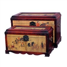 Galloping Horses Oriental Storage Trunk (Set of 2)