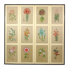 "<strong>Oriental Furniture</strong> 72"" x 72"" Twelve Small Flowers Folding 4 Panel Room Divider"