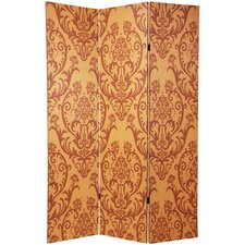 "70.88"" x 47"" Double Sided Damask 3 Panel Room Divider"