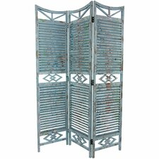 "68"" x 45.75"" Rustic Slatted 3 Panel Room Divider"