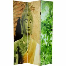 "71"" x 47.25"" Draped Buddha Double Sided 3 Panel Room Divider"