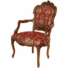 <strong>Oriental Furniture</strong> Queen Elizabeth Fabric Arm Chair