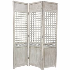 "<strong>Oriental Furniture</strong> 69.5"" x 51.75"" Open Lattice 3 Panel Room Divider"
