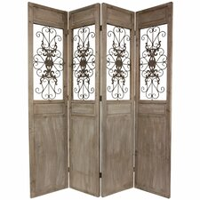 "<strong>Oriental Furniture</strong> 85.25"" x 72"" Railing Scrolls 4 Panel Room Divider"