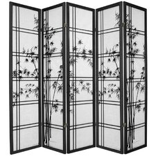 "72"" x 70"" Bamboo Tree Double Cross Shoji 5 Panel Room Divider"