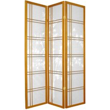 "72"" Double Crossed Bamboo Tree Room Divider in Honey"