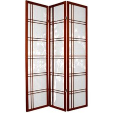 "<strong>Oriental Furniture</strong> 72"" x 42"" Bamboo Tree Double Cross Shoji 3 Panel Room Divider"