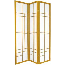 "72"" Eudes Decorative Paned Room Divider in Honey"