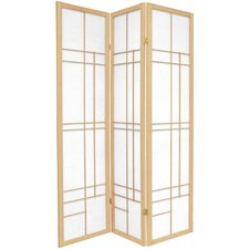 "72"" Eudes Decorative Paned Room Divider in Natural"