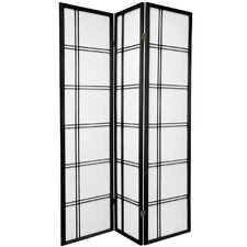 "72"" x 42"" Roosewood Double Sided Double Cross 3 Panel Room Divider"