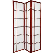 "72"" Rosewood Double Sided Double Cross Room Divider"