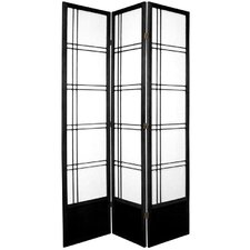 "78"" Double Cross Design Room Divider in Black"