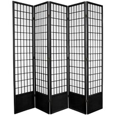 "78"" x 72"" Window Pane Shoji 5 Panel Room Divider"