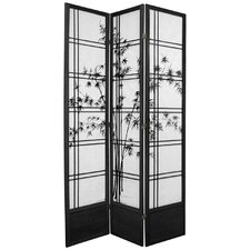"<strong>Oriental Furniture</strong> 83.5"" x 43"" Double Cross Shoji Bamboo Tree 3 Panel Room Divider"