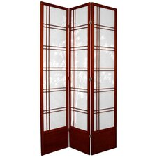 "83.5"" x 43"" Double Cross Shoji Bamboo Tree 3 Panel Room Divider"